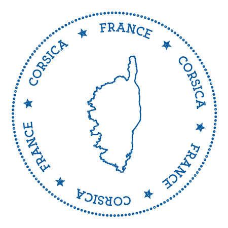 Corsica map sticker, hipster and retro style badge, insignia with round dots border, island vector illustration. Иллюстрация