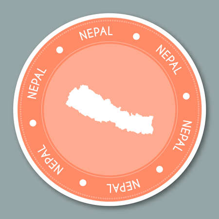 Round shaped travel sticker with Nepal name and map which can be used as badge, label, tag, sign, stamp or emblem.