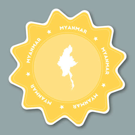 Star shaped travel sticker with Myanmar name and map which can be used as badge, label, tag, sign, stamp or emblem.