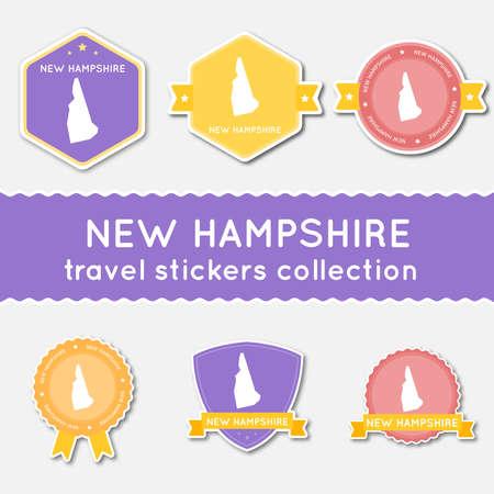 뉴 햄프셔 상태지도와 이름, 평면 소재 스타일 배지 벡터 일러스트와 함께 여행 스티커의 큰 집합입니다.