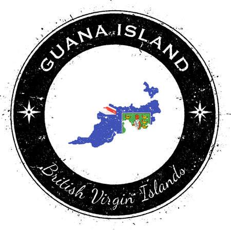 Distintivo patriottico circolare dell'isola di Guana. Timbro di gomma di lerciume con la bandiera dell'isola, la mappa e il nome scritti lungo il confine del cerchio, illustrazione di vettore.