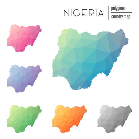 Multicolored Nigeria map icon.