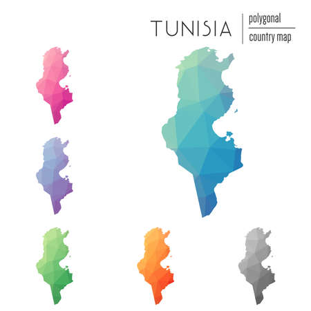 Set of vector polygonal Tunisia maps. Bright gradient map of country in low poly style. Multicolored Tunisia map in geometric style for your infographics.
