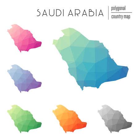 Conjunto de mapas vetoriais poligonais da Arábia Saudita. Mapa de gradiente brilhante do país em estilo de poli baixo. Mapa multicolorido da Arábia Saudita em estilo geométrico para sua infografia. Ilustración de vector