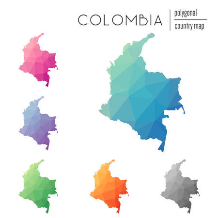 Set of Multicolored Colombia map in geometric style for your infographics. Иллюстрация