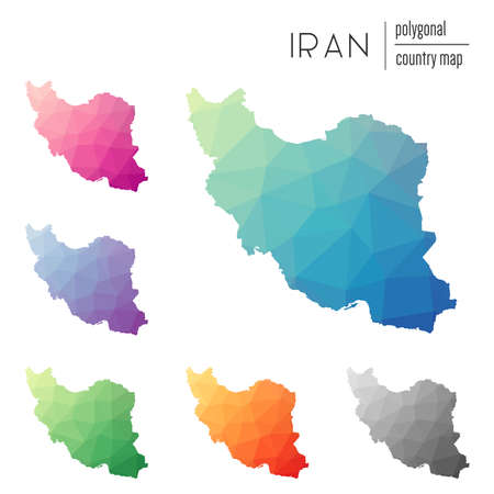 Set of Multicolored Iran map in geometric style for your infographics.