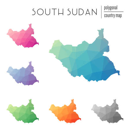 Set of Multicolored South Sudan map in geometric style for your infographics.