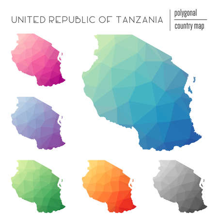 Set of vector polygonal Tanzania, United Republic of maps. Bright gradient map of country in low poly style. Multicolored Tanzania, United Republic of map in geometric style for your infographics.