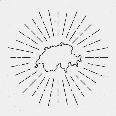흰색 배경에 빈티지 햇살 광선으로 둘러싸인 스위스지도의 복고풍 햇살 Hipster 디자인. 일러스트