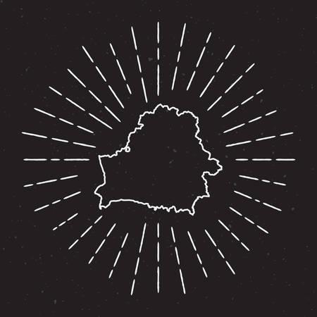 벨로루시의 Hipster 장식 요소로 손으로 그려지도 빛나는 빛으로 벡터지도 개요 검은 색 바탕에 국가지도 주위에 광선 광선.