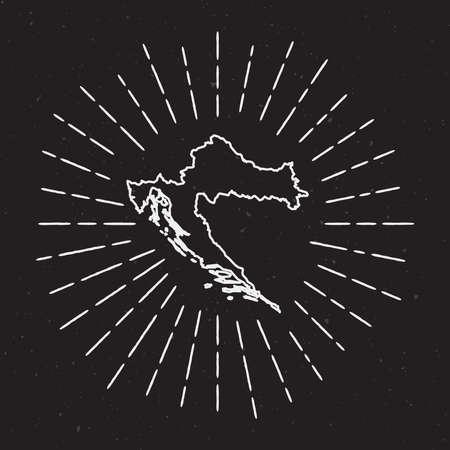 크로아티아의 hipster 장식 요소로 손으로 그려지도 빛나는 빛으로 벡터지도 개요 검은 색 바탕에 국가지도 주위에 광선 광선. 일러스트