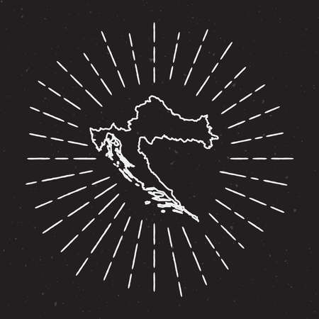 Hand Drawn Map with Hipster Decoration Element of Croatia Vector Map Outline with Radiant Light Rays around country Map on Black Background. Иллюстрация
