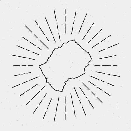 흰색 배경에 빈티지 햇살 광선으로 둘러싸인 레소토지도의 복고풍 햇살 힙 스타 디자인.