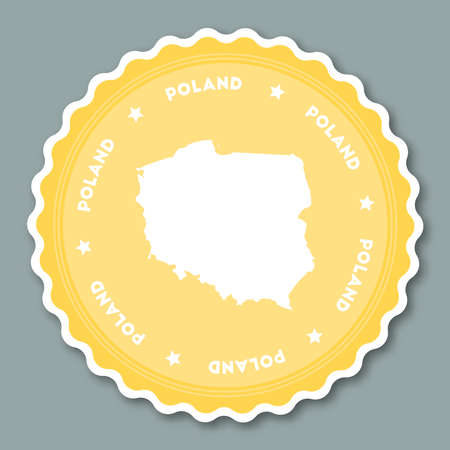 Poland sticker flat design. Round flat style badges of trendy colors with country map and name. Country sticker vector illustration.