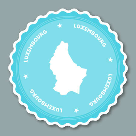 Luxembourg sticker flat design. Round flat style badges of trendy colors with country map and name. Country sticker vector illustration. Ilustração