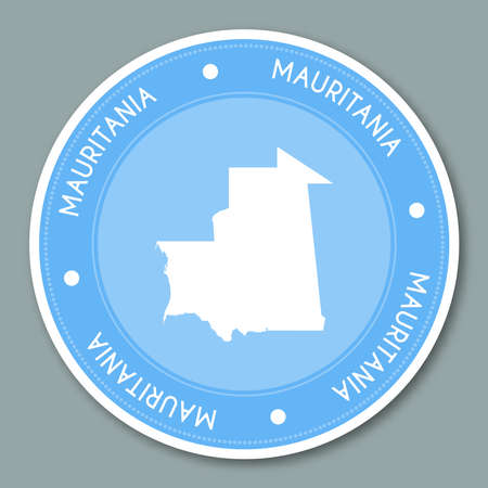 Mauritania label flat sticker design. Patriotic country map round lable. Country sticker vector illustration.
