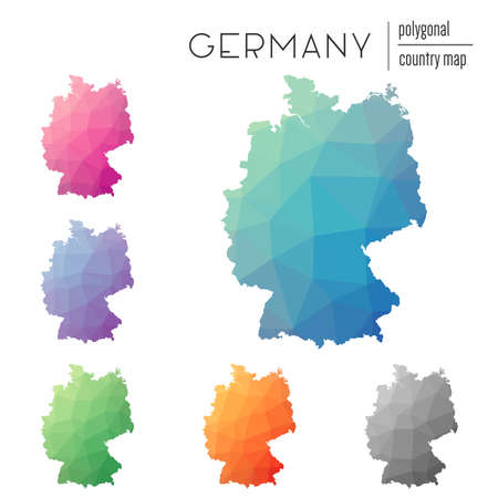 Set of vector polygonal Germany maps. Bright gradient map of country in low poly style. Multicolored Germany map in geometric style for your infographics. Illustration