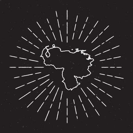 Venezuela, Repubblica bolivariana di vettore Mappa muta con bordo Vintage Sunburst. Mappa disegnata a mano con elemento di decorazione hipster. Raggi di luce radiante intorno alla mappa del paese su sfondo nero.