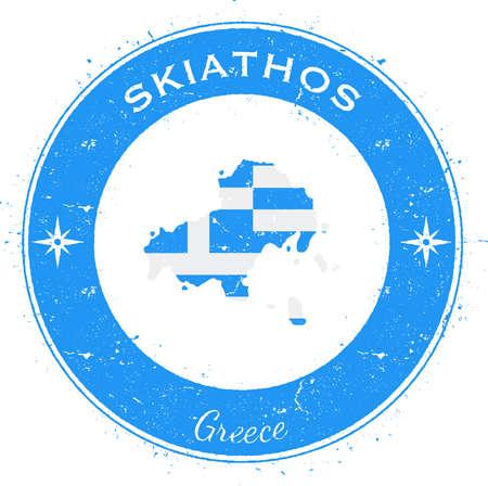 Distintivo patriottico circolare di Skiathos. Timbro di gomma di lerciume con la bandiera dell'isola, la mappa e il nome scritti lungo il confine del cerchio, illustrazione di vettore.
