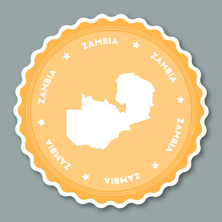 Zambia sticker flat design. Round flat style badges of trendy colors with country map and name. Country sticker vector illustration.