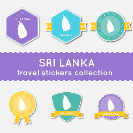 Sri Lanka travel stickers collection. Big set of stickers with country map and name. Flat material style badges vector illustration. Illustration