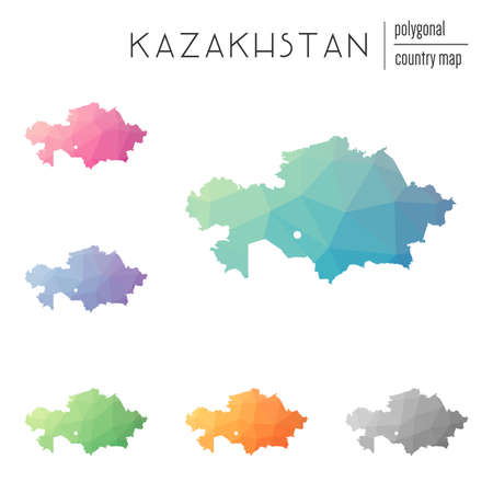 Set of vector polygonal Kazakhstan maps. Bright gradient map of country in low poly style. Multicolored Kazakhstan map in geometric style for your infographics. Illustration