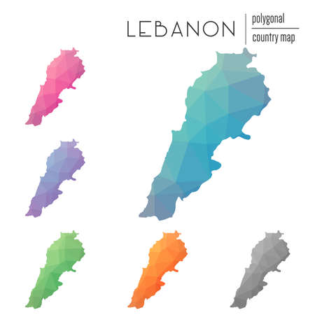 Set of vector polygonal Lebanon maps. Bright gradient map of country in low poly style. Multicolored Lebanon map in geometric style for your infographics. Illustration