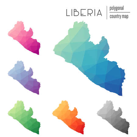 Set of vector polygonal Liberia maps. Bright gradient map of country in low poly style. Multicolored Liberia map in geometric style for your infographics.