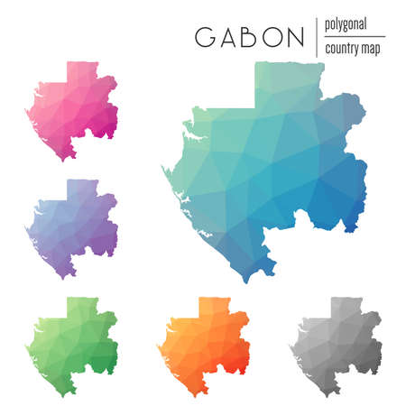 Set of vector polygonal Gabon maps. Bright gradient map of country in low poly style. Multicolored Gabon map in geometric style for your infographics.