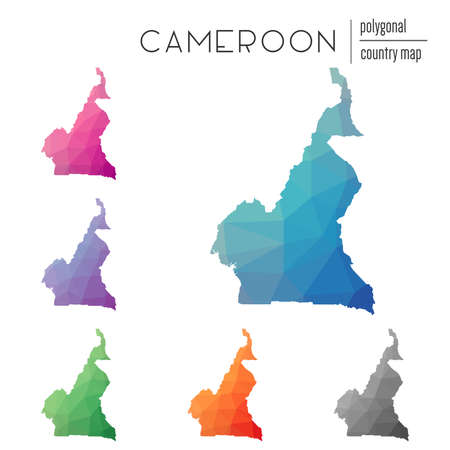 Set of vector polygonal Cameroon maps. Bright gradient map of country in low poly style. Multicolored Cameroon map in geometric style for your infographics.