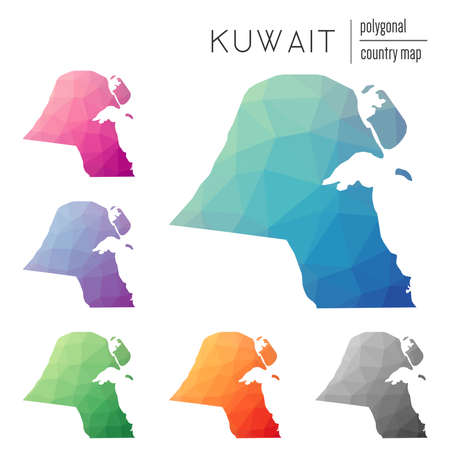 nationalist: Set of vector polygonal Kuwait maps. Bright gradient map of country in low poly style. Multicolored Kuwait map in geometric style for your infographics.