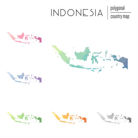 Set of vector polygonal Indonesia maps. Bright gradient map of country in low poly style. Multicolored Indonesia map in geometric style for your infographics.