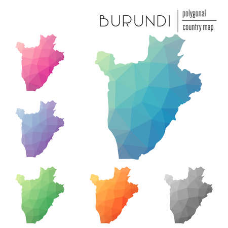 Set of vector polygonal Burundi maps. Bright gradient map of country in low poly style. Multicolored Burundi map in geometric style for your infographics.