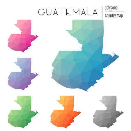Set of vector polygonal Guatemala maps. Bright gradient map of country in low poly style. Multicolored Guatemala map in geometric style for your infographics.