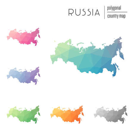 Set of vector polygonal Russian Federation maps. Bright gradient map of country in low poly style. Multicolored Russian Federation map in geometric style for your infographics. Illustration