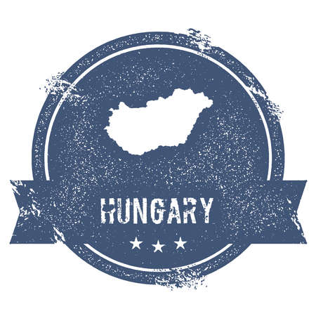 Hungary mark. Travel rubber stamp with the name and map of Hungary, vector illustration. Can be used as insignia, logotype, label, sticker or badge of the country.