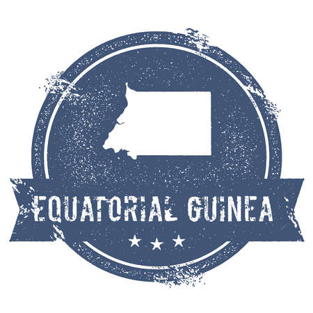 Equatorial Guinea mark. Travel rubber stamp with the name and map of Equatorial Guinea, vector illustration. Can be used as insignia, logotype, label, sticker or badge of the country.