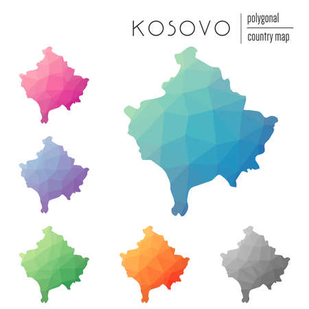 Set of vector polygonal Kosovo maps. Bright gradient map of country in low poly style. Multicolored Kosovo map in geometric style for your infographics. Illustration