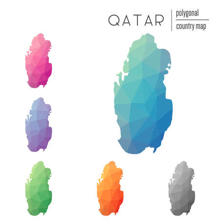 Set of vector polygonal Qatar maps. Bright gradient map of country in low poly style. Multicolored Qatar map in geometric style for your infographics.