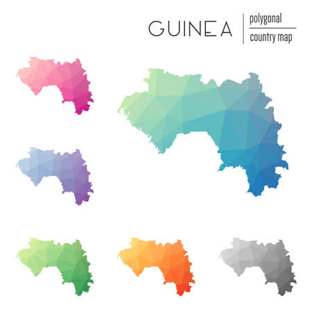 delta: Set of vector polygonal Guinea maps. Bright gradient map of country in low poly style. Multicolored Guinea map in geometric style for your infographics.