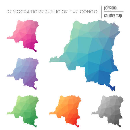 Set of vector polygonal Congo, The Democratic Republic Of The maps. Bright gradient map of country in low poly style.