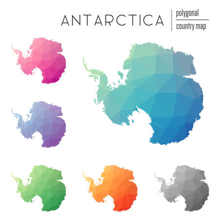 Set of vector polygonal Antarctica maps. Bright gradient map of country in low poly style. Multicolored Antarctica map in geometric style for your infographics.