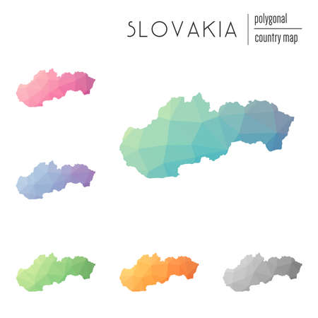 Set of vector polygonal Slovakia maps. Bright gradient map of country in low poly style. Multicolored Slovakia map in geometric style for your infographics.