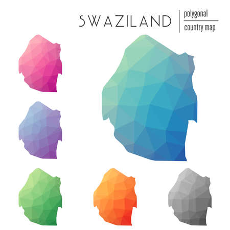Set of vector polygonal Swaziland maps. Bright gradient map of country in low poly style. Multicolored Swaziland map in geometric style for your infographics. Illustration