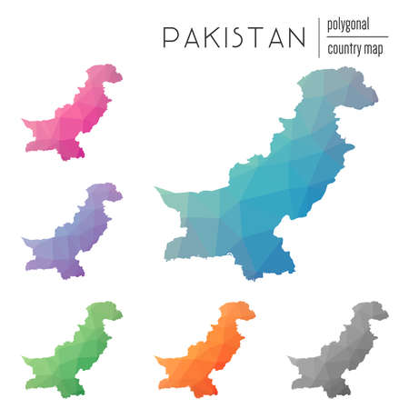 delta: Set of vector polygonal Pakistan maps. Bright gradient map of country in low poly style. Multicolored Pakistan map in geometric style for your infographics.