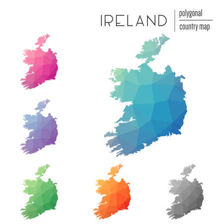 Set of vector polygonal Ireland maps. Bright gradient map of country in low poly style. Multicolored Ireland map in geometric style for your infographics. Illustration