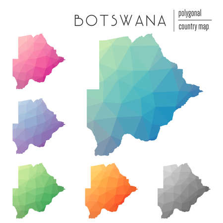 Set of vector polygonal Botswana maps. Bright gradient map of country in low poly style. Multicolored Botswana map in geometric style for your infographics.