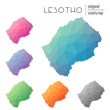Set of vector polygonal Lesotho maps. Bright gradient map of country in low poly style. Multicolored Lesotho map in geometric style for your infographics.