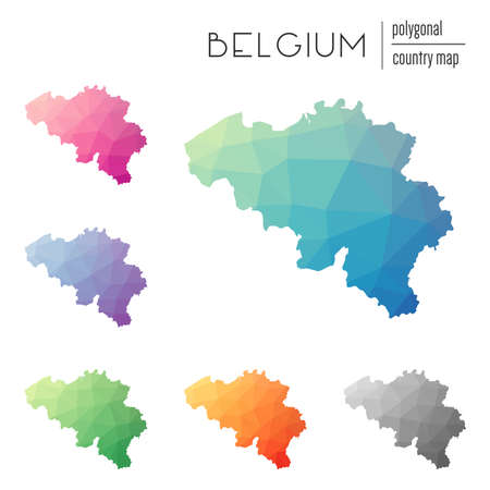 Set of vector polygonal Belgium maps. Bright gradient map of country in low poly style. Multicolored Belgium map in geometric style for your infographics.