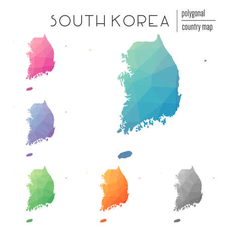 Set of vector polygonal Korea, Republic of maps. Bright gradient map of country in low poly style. Multicolored Korea, Republic of map in geometric style for your infographics. Illustration
